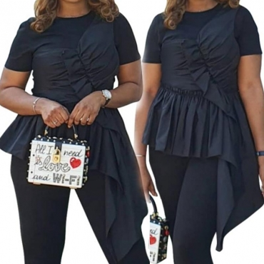 Lovely Casual Asymmetrical Patchwork Black Blouse