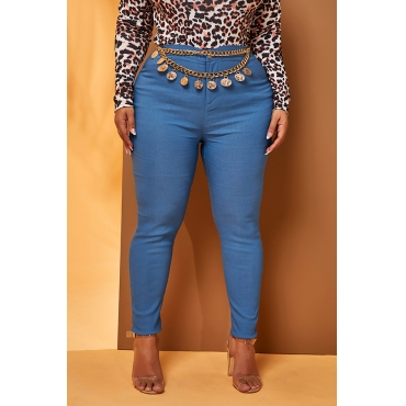 Lovely Work Skinny Blue Plus Size Jeans(Without Belt)