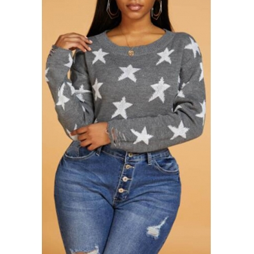 Lovely Leisure Star Grey Sweater
