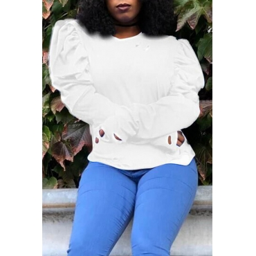 Lovely Casual Ruffle Design White  Blouse