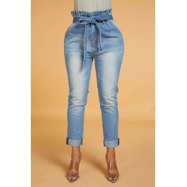 Lovely Work Lace-up Blue Jeans