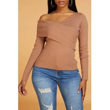 Lovely Casual Cross-over Design Khaki Sweater