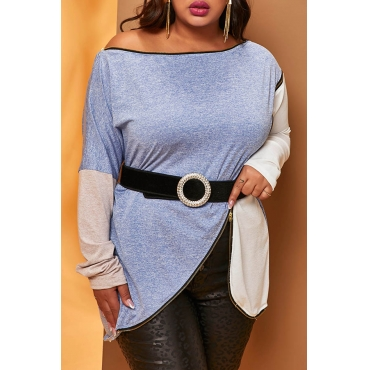 Lovely Casual Patchwork Blue T-shirt(Without Belt)