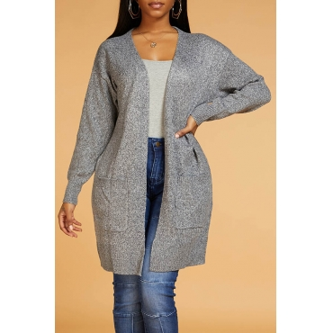Lovely Chic Basic Grey Cardigan
