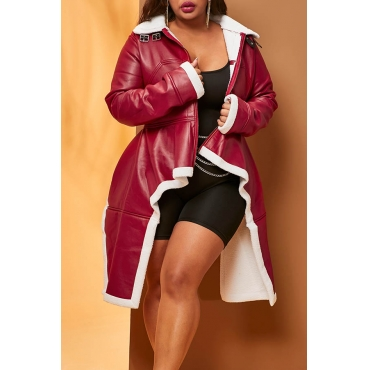 Lovely Casual Asymmetrical Patchwork Wine Red Plus Size Coat