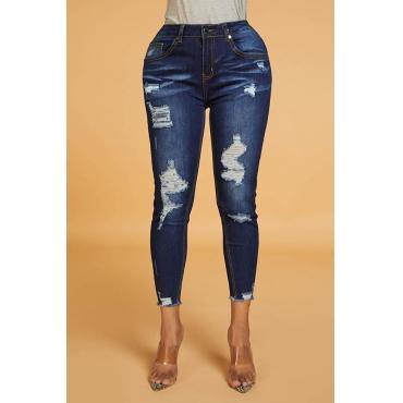 Lovely Work Broken Holes Blue Jeans