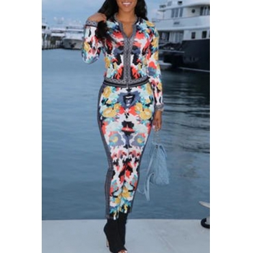 Lovely Casual Print Multicolor Two-piece Pants Set