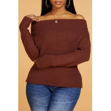 Lovely Casual Make Old Brown Sweater