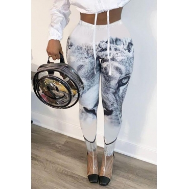 Lovely Trendy Print White Pants