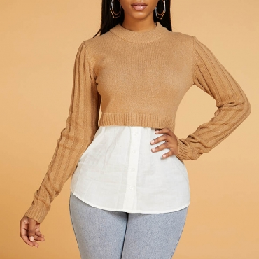 Lovely Casual O Neck Patchwork Khaki Sweater