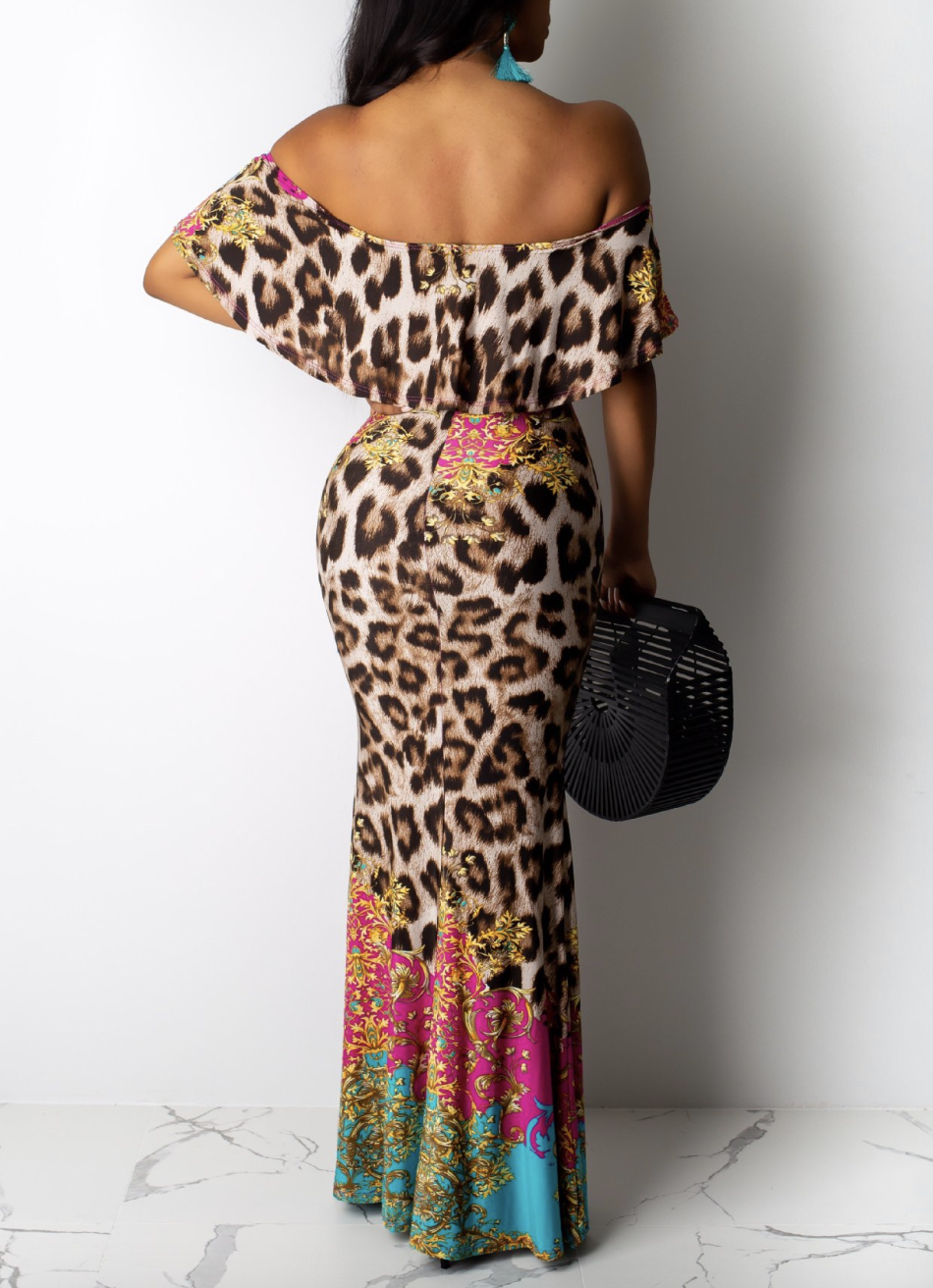 Lovely Sweet Flounce Leopard Print Ankle Length Dress