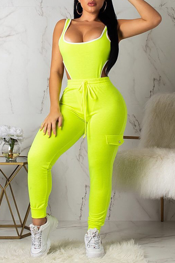 Lovely Chic Sleeveless Green Two-piece Pants Set