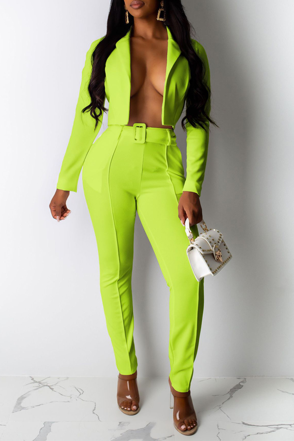 Lovely Chic Lapel Green Two-piece Pants Set