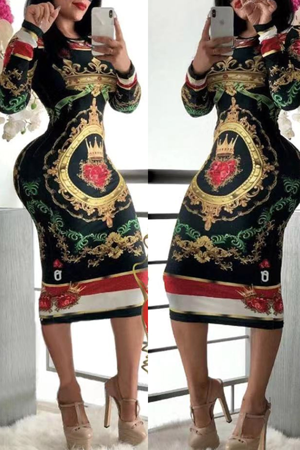 Lovely Chic Print Skinny Black Knee Length Dress
