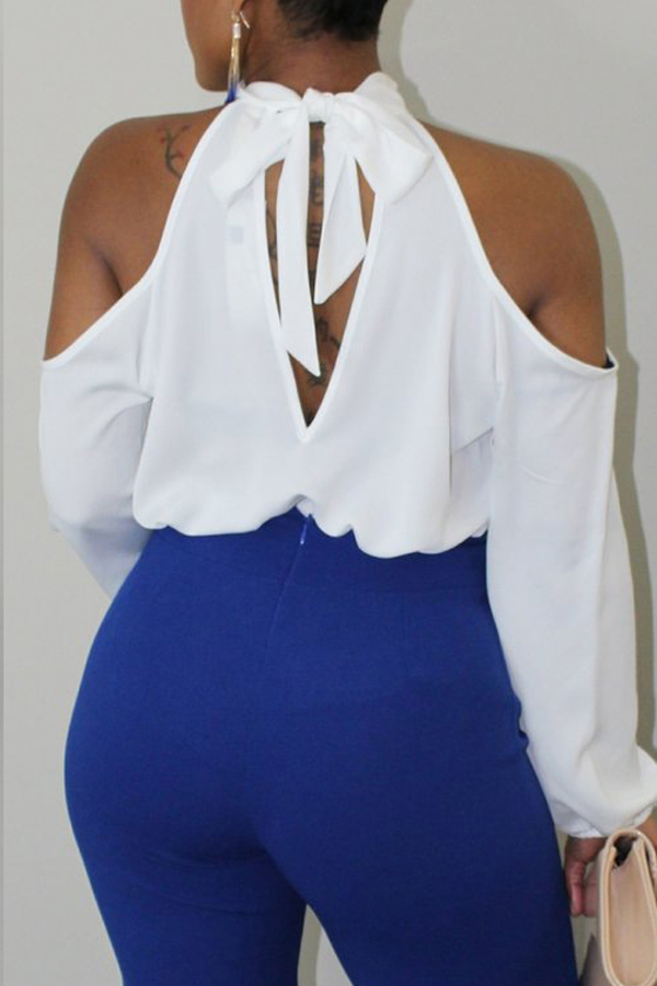 Lovely Chic Dew Shoulder White Blouse