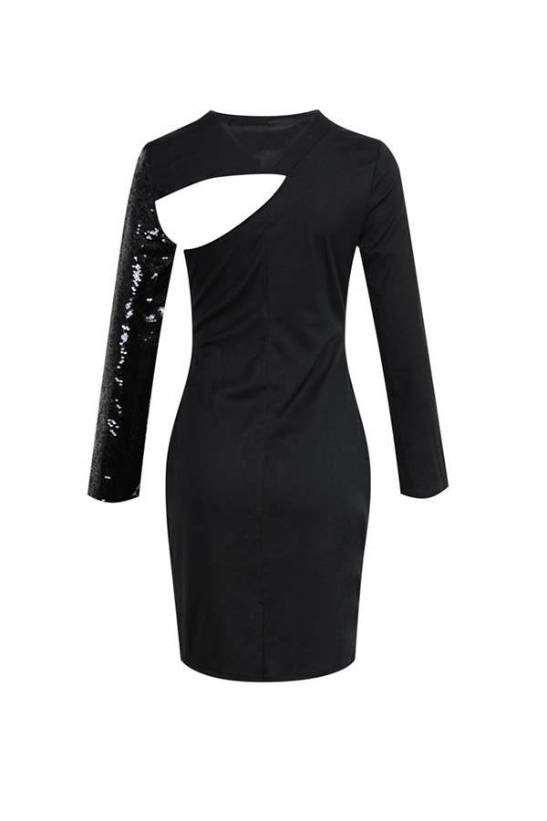 Lovely Party Hollow-out Black Mid Calf Dress