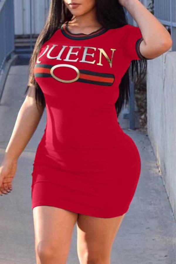 Lovely Casual Letter Print Red Mini Dress
