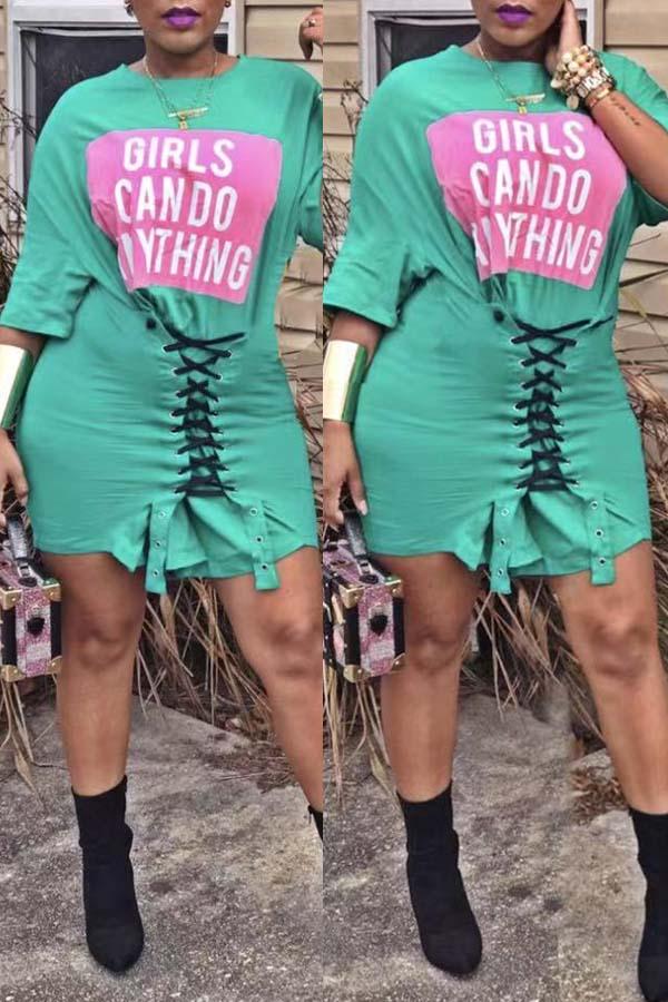 Lovely Casual Drawstring Green Mini Dress