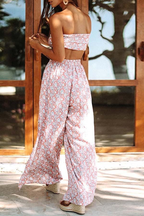 Lovely Bohemian Dew Shoulder Print Pink Two-piece Pants Set