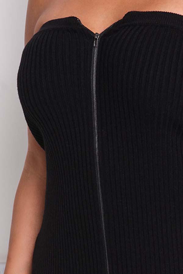 Lovely Chic Dew Shoulder Zipper Design Black Mid Calf Plus Size Dress