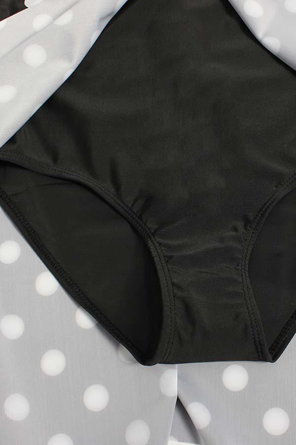 Lovely Casual Dot Print Plus Size One-piece Swimwear