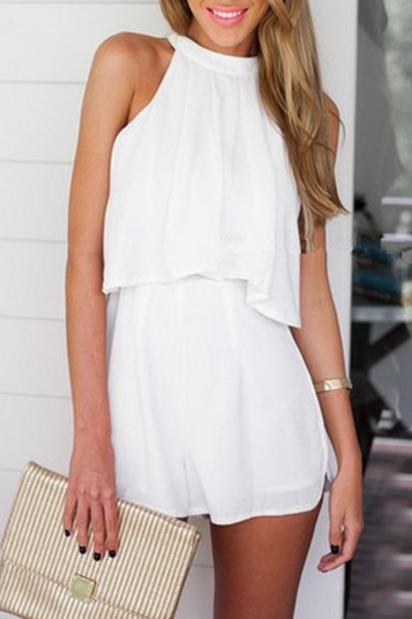 Lovely Casual Sleeveless White Two-piece Shorts Set