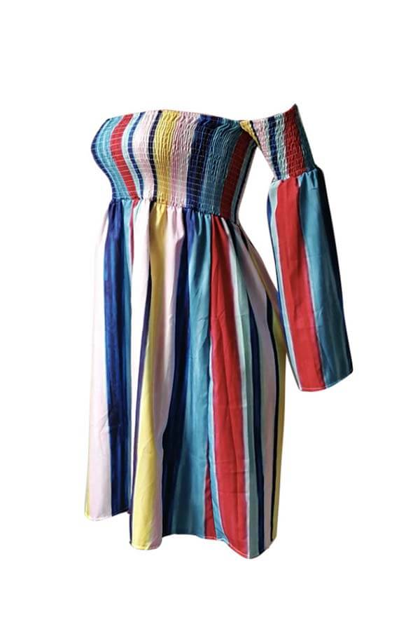 Lovely Casual Striped Multicolor Knee Length Dress