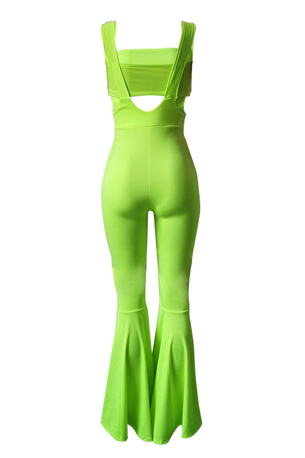 Lovely Chic Dew Shoulder Green Two-piece Pants Set