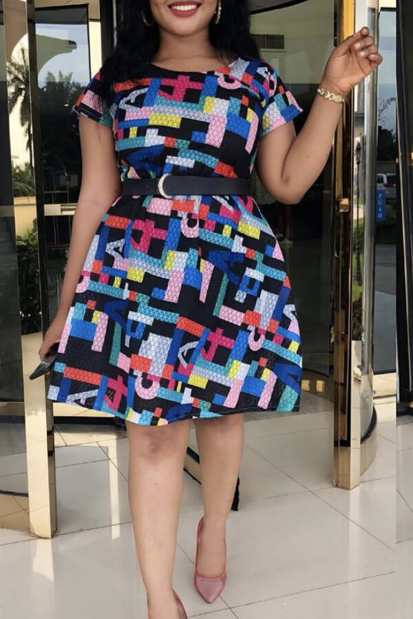 lovelywholesale / Cheap Daily Dress Lovely Casual Print Multicolor Knee Length Dress