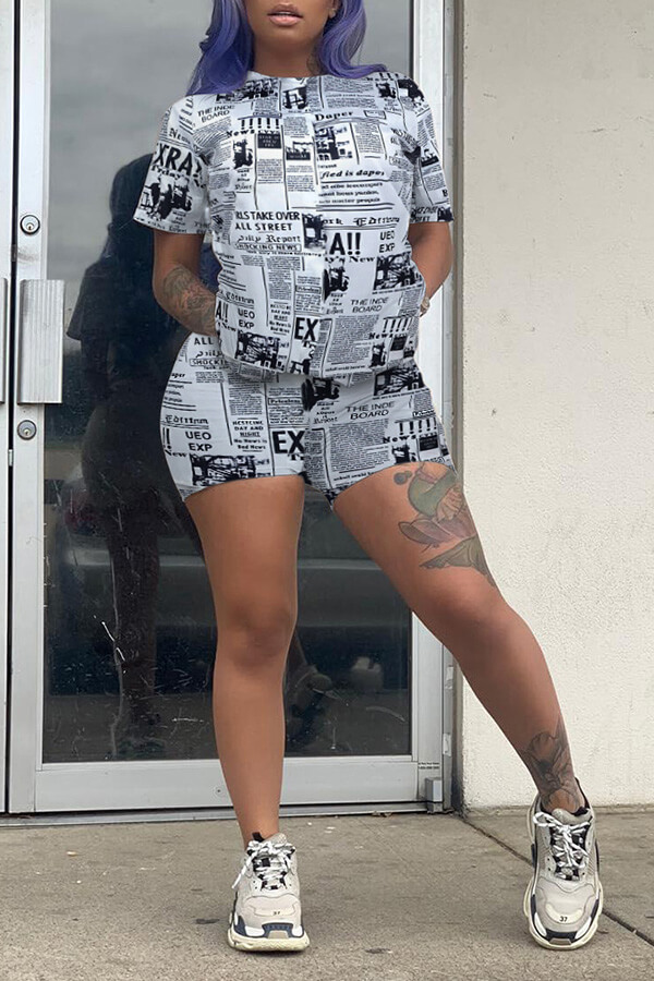 Lovely Casual Letter Print White Two-piece Shorts Set