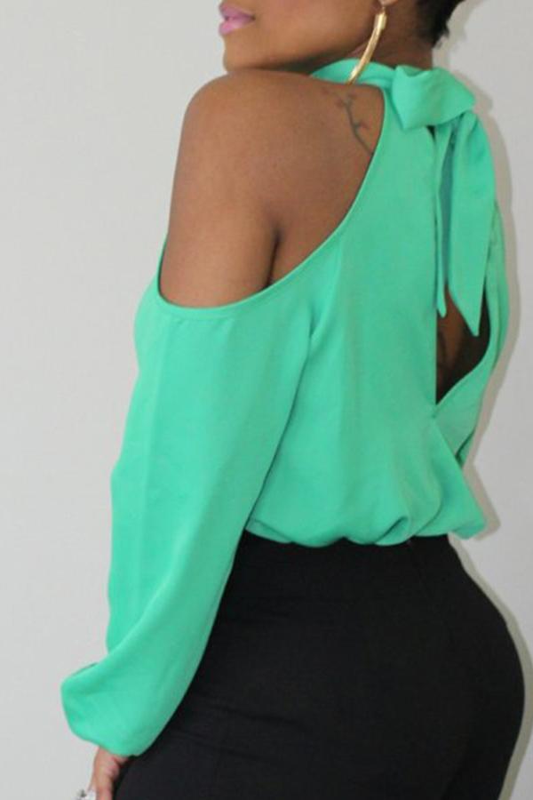 Lovely Trendy Dew Shoulder Green Blouse