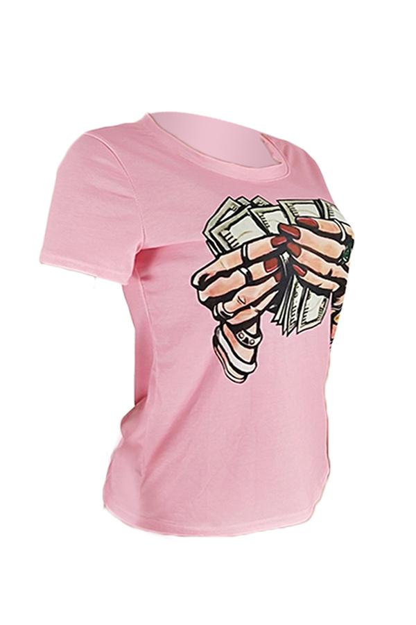 Lovely Stylish Print Pink T-shirt