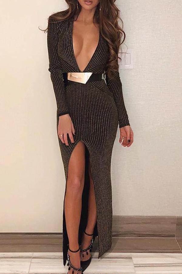 lovelywholesale / Cheap Dress Lovely Trendy Deep V Neck Striped Brown Ankle Length Dress
