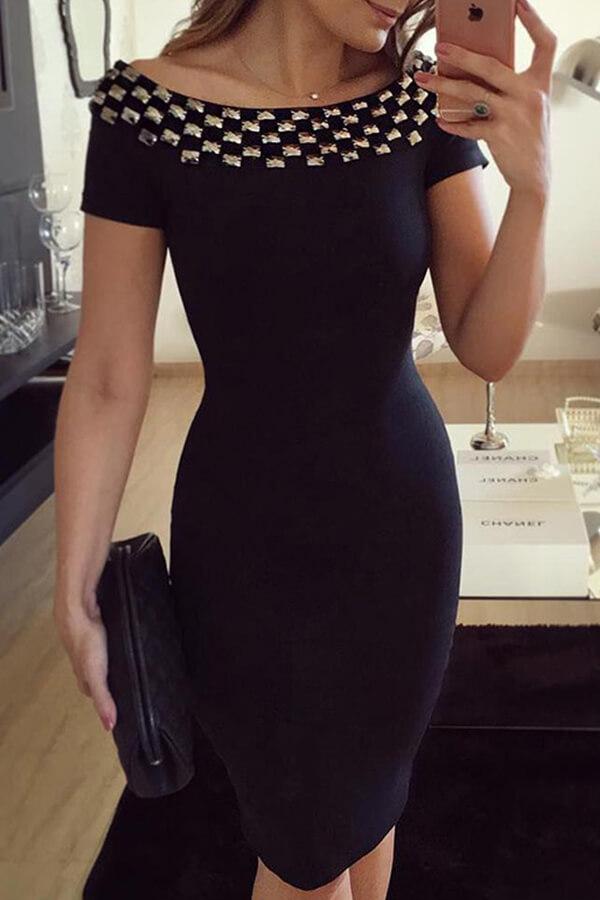 lovelywholesale / Lovely Chic Patchwork Black Ankle Length Dress