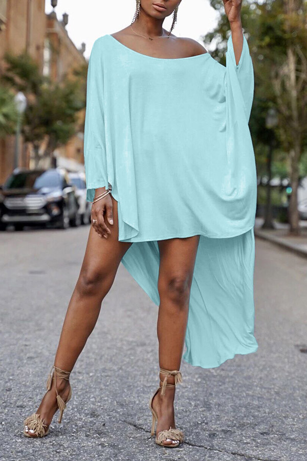 Lovely Casual  Loose Blue Blouse