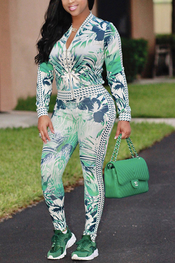 Lovely Chic Print Green Two-piece Pants Set