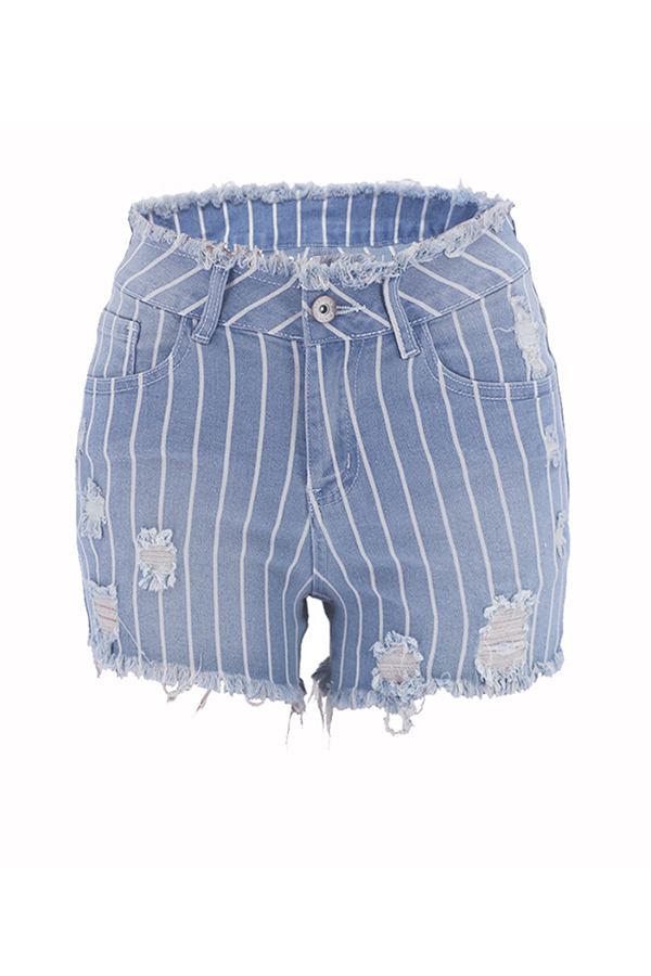 Lovely Casual Striped Tassel Baby Blue Shorts