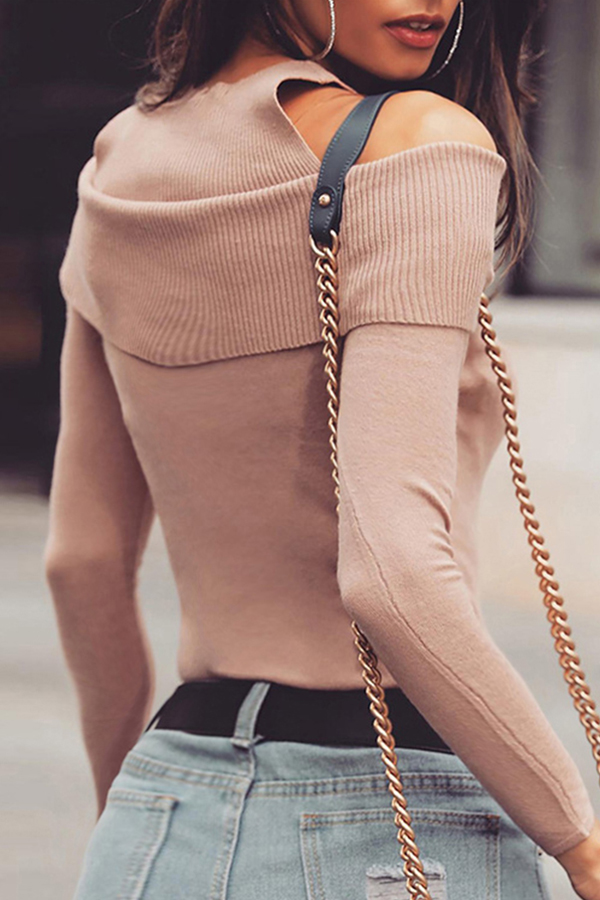 Lovely Chic Dew Shoulder  Dusty Pink T-shirt