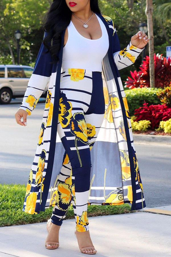 Lovely Casual Print Yellow Two-piece Pants Set