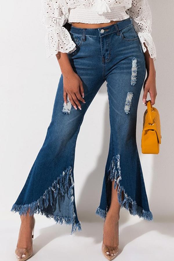 Lovely Casual Tassel Design Baby Blue Jeans
