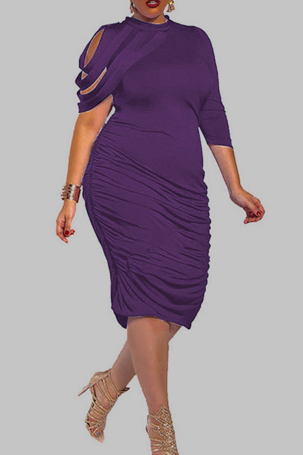 Lovely Trendy Ruffle Design Purple Knee Length Plus Size Dress