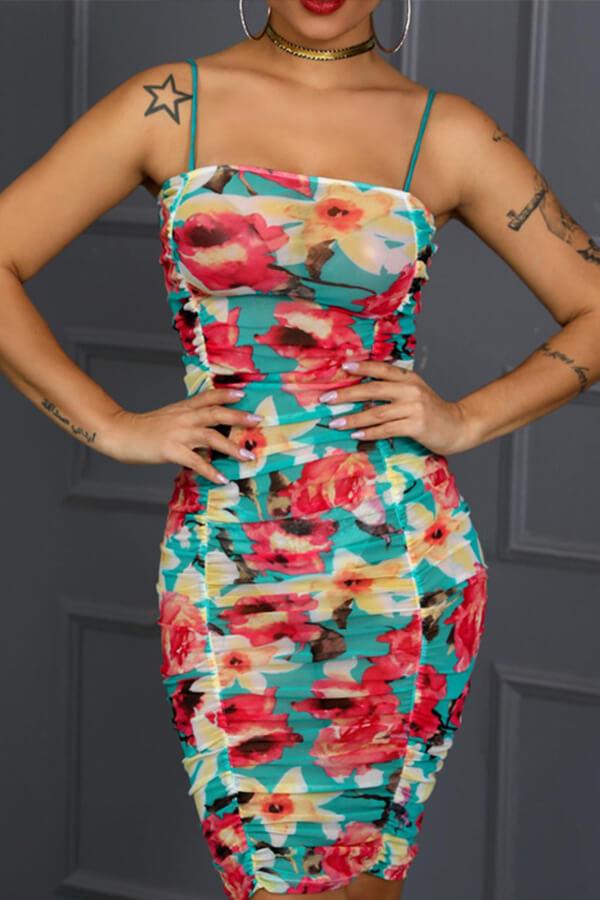 lovelywholesale / Lovely Bohemian Sleeveless Print Multicolor Knee Length Dress