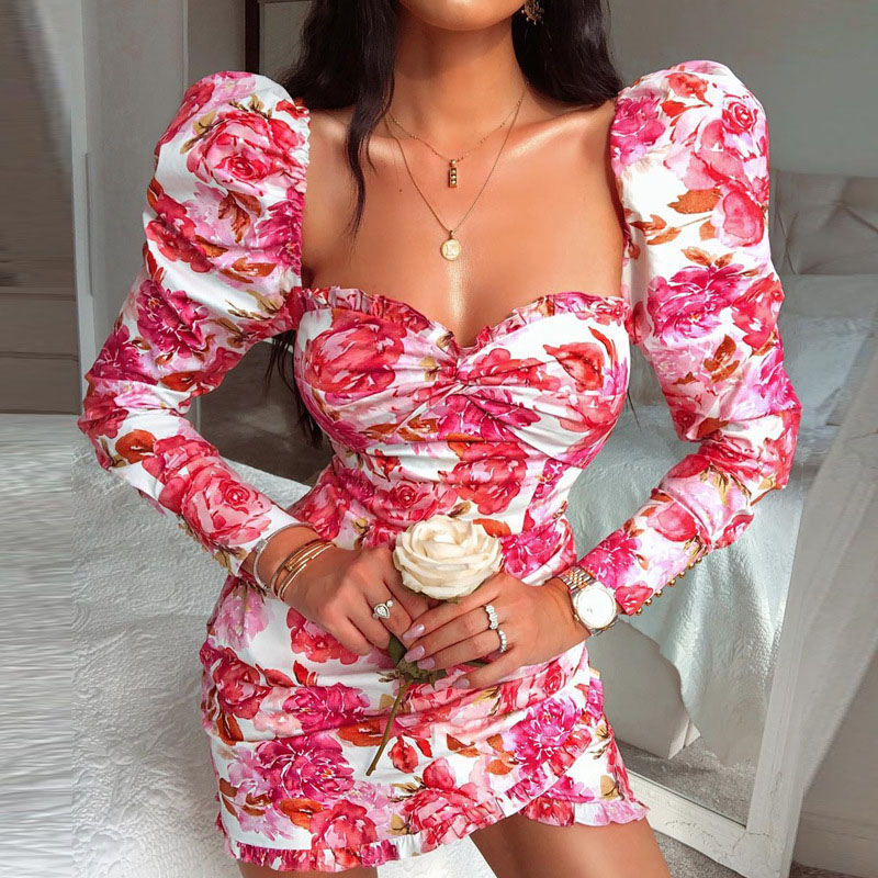 Lovely Chic Floral Print Pink Mini Dress