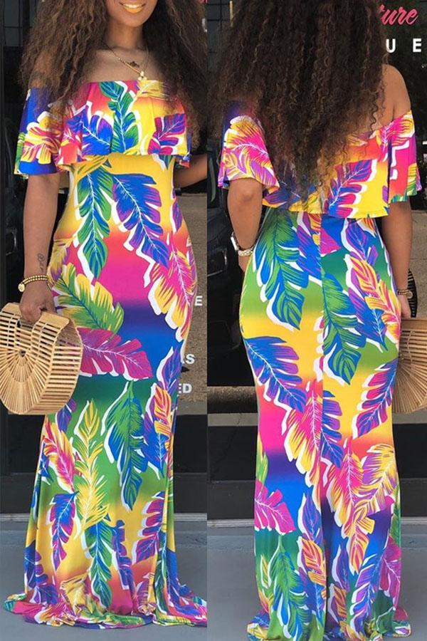 Lovely Leisure Flounce Design Multicolor Maxi Dress