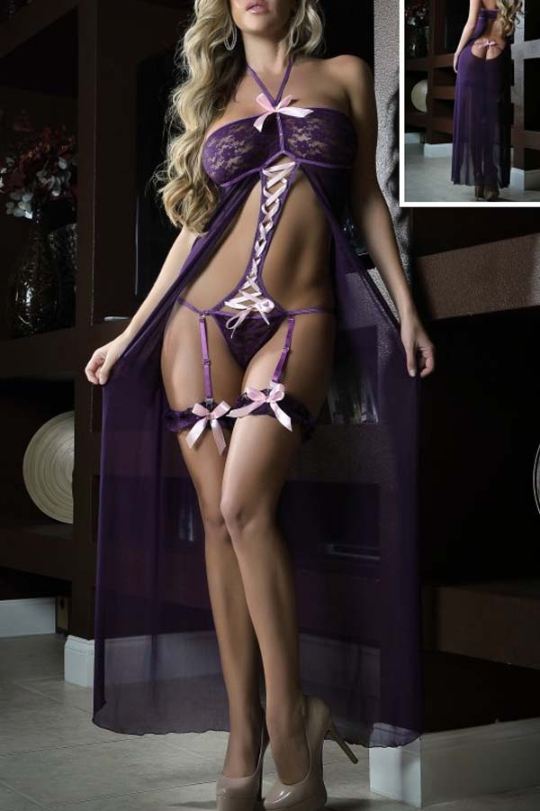 Lovely Sexy Hollow-out Purple Gowns
