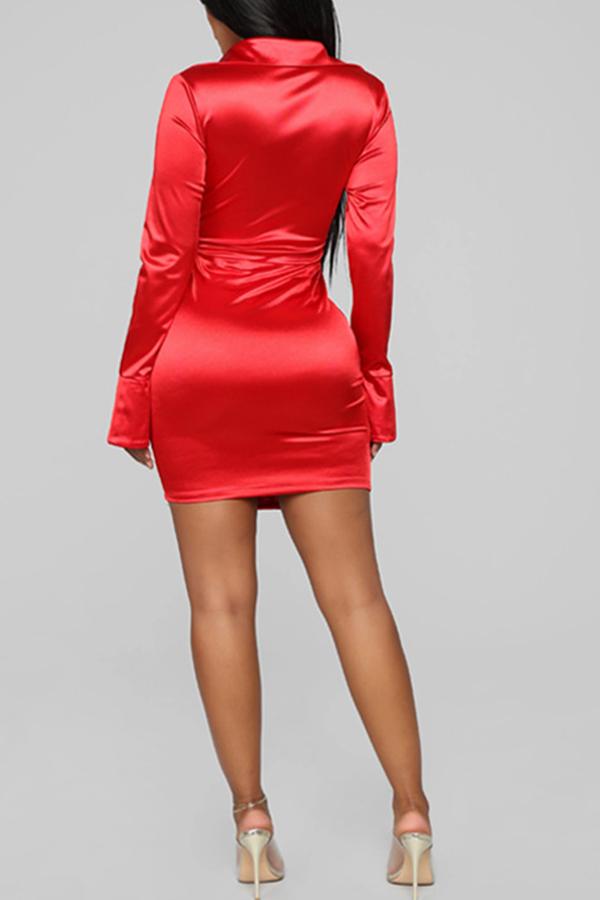 Lovely Trendy Deep V Neck Fold Design Red  Mini Dress