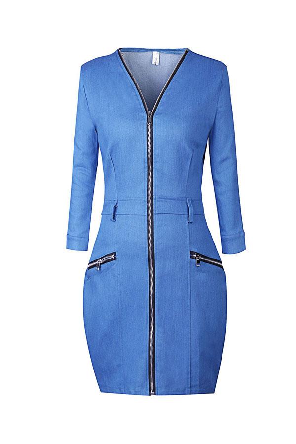 Lovely Casual V Neck Zipper Design Baby Blue Mini Dress