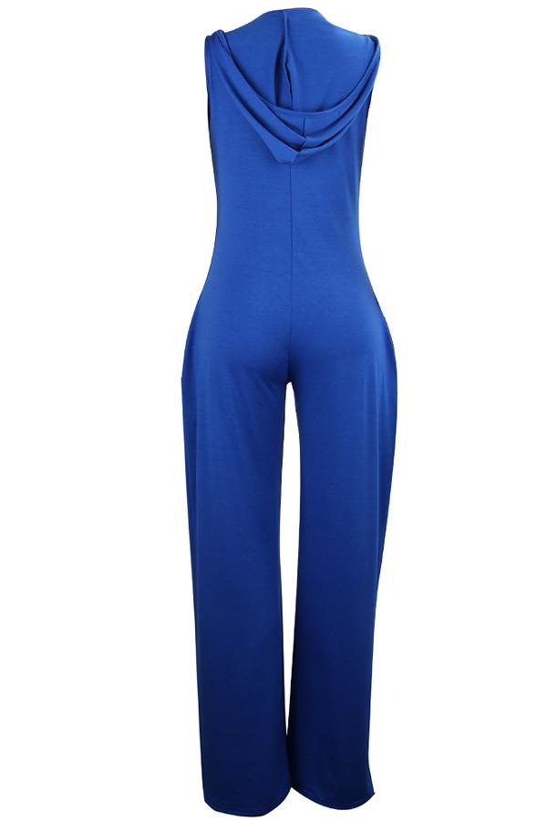 LW BASIC Leisure  Loose Blue One-piece Jumpsuit