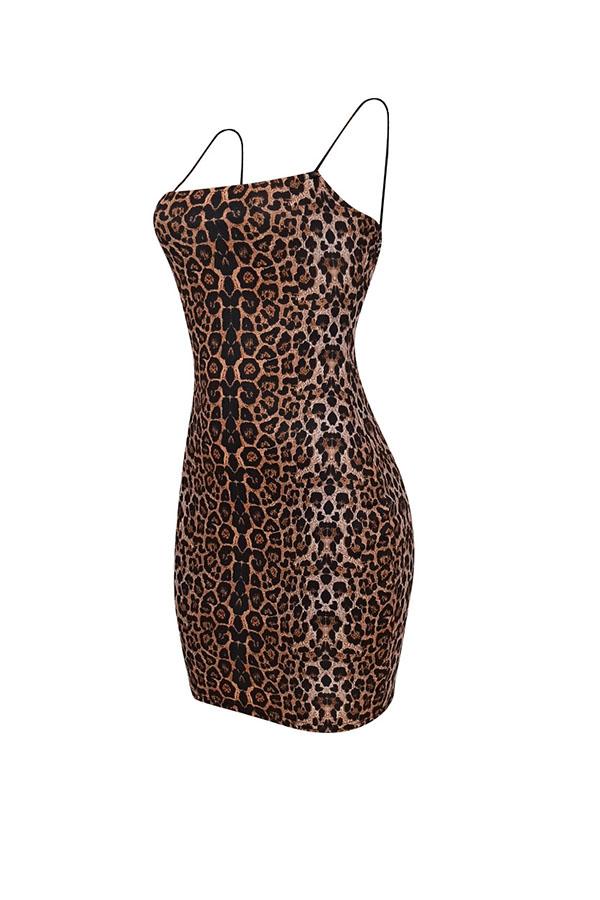 Lovely Sexy Leopard Print Mini Dress