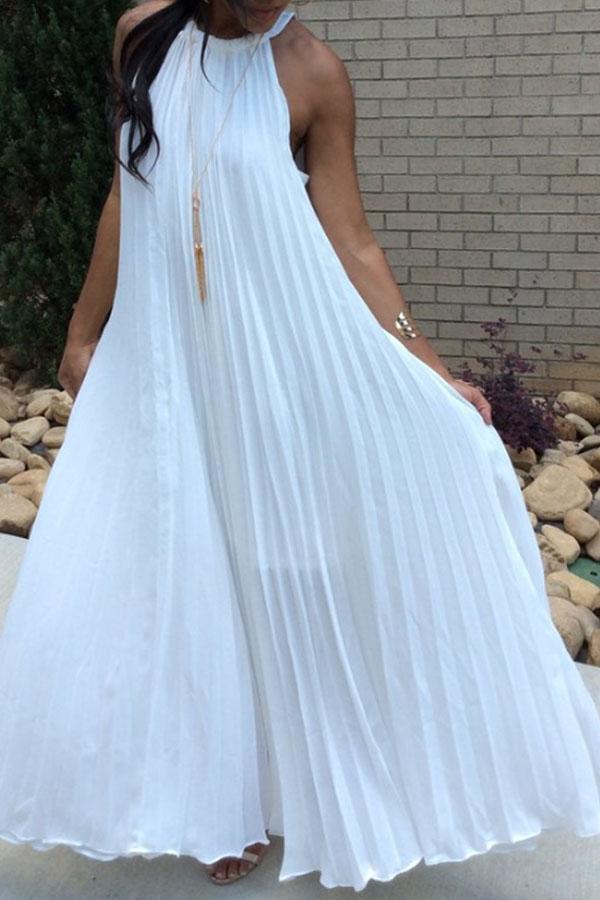 Lovely Bohemian Fold Design White Ankle Length Dress фото